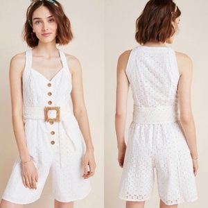 Anthropologie Eyelet White Romper - Missing Belt